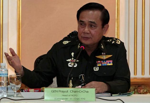 Thai junta chief General Prayut Chan-O-Cha, pictured during a meeting with businessmen, at the Army headquarters in Bangkok, on June 19, 2014