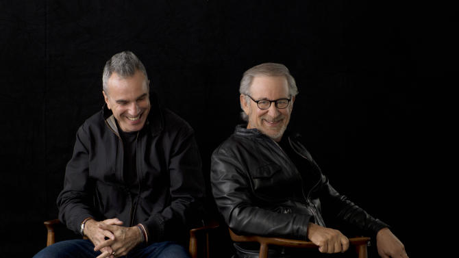 "This September 4, 2012 publicity photo provided by DreamWorks and Twentieth Century Fox, shows actor, Daniel Day-Lewis, left, and director, Steven Spielberg, posing for a portrait in New York. Day-Lewis stars as Abraham Lincoln in the new Spielberg directed film, ""Lincoln."" Spielberg was nominated  for an Academy Award for best director on Thursday, Jan. 10, 2013, for ""Lincoln."" Lewis was nominated for best actor. The 85th Academy Awards will air live on Sunday, Feb. 24, 2013 on ABC.   (AP Photo/DreamWorks, Twentieth Century Fox, Kevin Lynch, File)"
