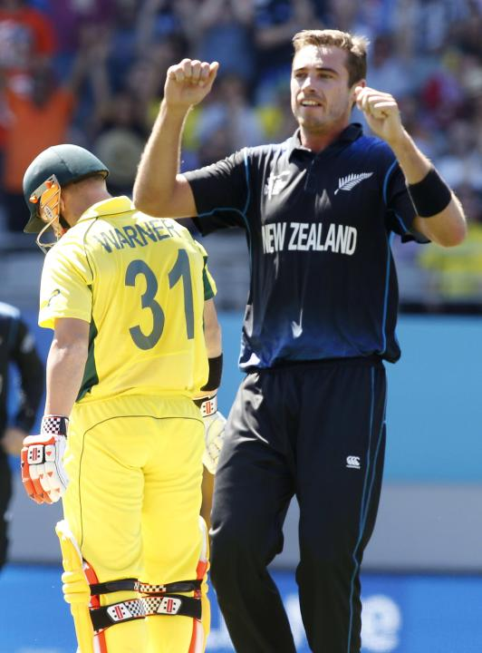 Australia's David Warner reacts after being dismissed by New Zealand's Tim Southee in their Cricket World Cup match in Auckland