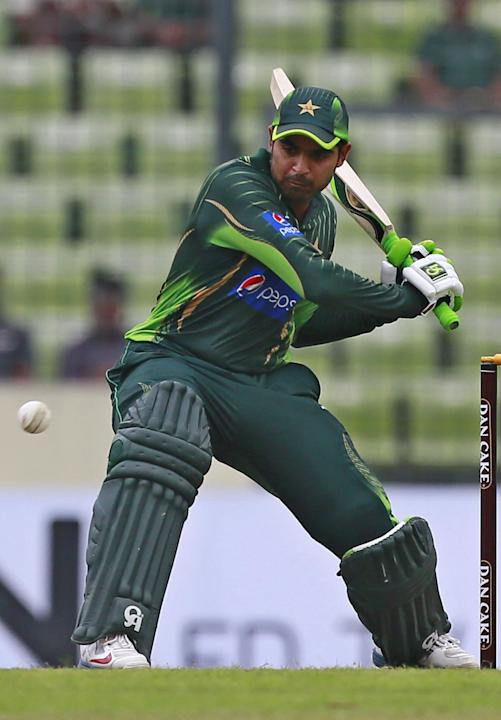 Pakistan's Haris Sohail plays a shot during the second one-day international cricket match against Bangladesh in Dhaka, Bangladesh, Sunday, April 19, 2015. (AP Photo/ A.M. Ahad)