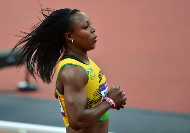 Jamaica's Veronica Campbell-Brown competes in the women's 100m heats during the London 2012 Olympic Games on August 3, 2012 in London. The reigning women's world 200-meter champion has tested positive and will not compete in this year's world championships, according to news reports