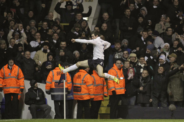 FILE  This Tuesday, Jan. 31, 2012 file photo shows Tottenham Hotspur's Gareth Bale celebrating his goal against Wigan Athletic during their English Premier League soccer match at White Hart Lane, Lond