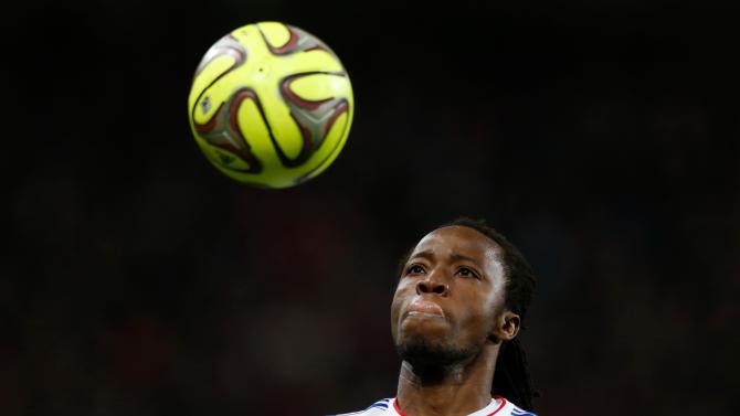 Lyon's Kone controls the ball during their French Ligue 1 soccer match against Lille in Villeneuve d'Ascq