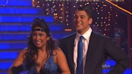Cheryl Burke and Rob Kardashian react to the judges on 'Dancing with the Stars,' Nov. 21, 2011 -- Getty Images