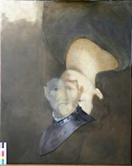 """Mock-up of Rembrandt's """"An old man in military costume"""" with a portrait painted underneath the final work"""