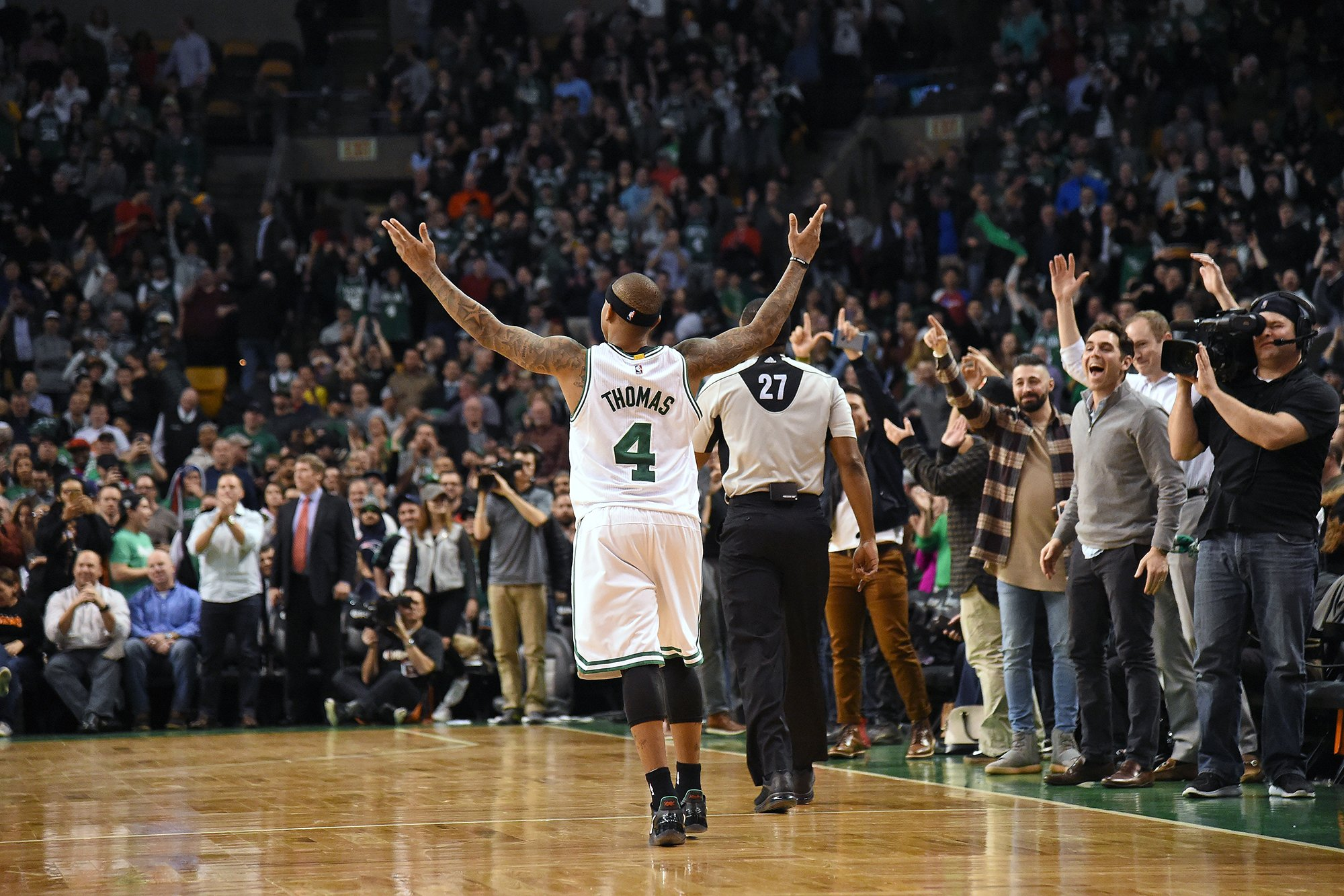 Isaiah Thomas celebrates, and so, sometimes, can we. (Photo by Brian Babineau/NBAE via Getty Images)