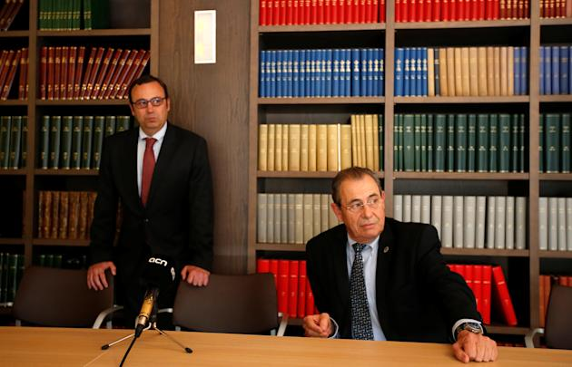 Grifols's Chairman Victor Grifols and his brother Raimon Grifols address the media after the 2016 annual shareholders meeting in Sant Cugat del Valles, north of Barcelona