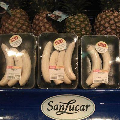 Austrian supermarket chain, Billa, has come under fire for selling these plastic-wrapped bananas. (Billa/Facebook)