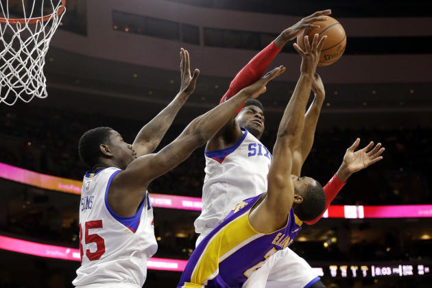Los Angeles Lakers' Wayne Ellington, right, is unable to get a shot past Philadelphia 76ers' Nerlens Noel, center, and Henry Sims during the first half of an NBA basketball game Monday, March