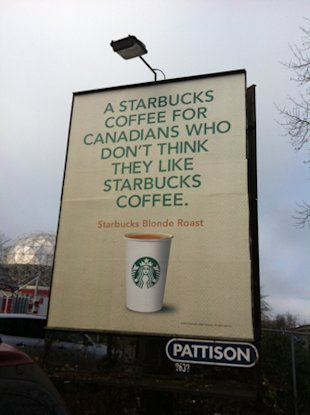 Customizing Your Marketing Message   Case Study: Starbucks Blonde Roast image starbucks billboard