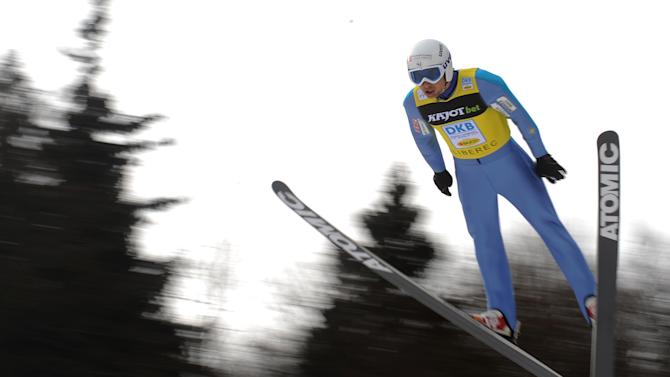 Jason Lamy Chappuis of France soars trough the air during the NH Individual Gundersen Ski Jumping round of the FIS Nordic Combined World Cup event in Liberec on February 25, 2012.   AFP PHOTO / MICHAL CIZEK (Photo credit should read MICHAL CIZEK/AFP/Getty Images)