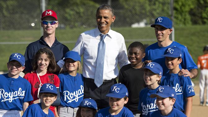 President Barack Obama Visits a Little Leage Baseball Game in Washington, D.C.