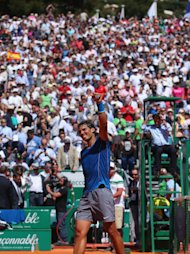 MONTE-CARLO, MONACO - APRIL 17: Rafael Nadal of Spain thanks the support after defeating Andreas Seppi of Italy during day five of the ATP Monte Carlo Rolex Masters Tennis at Monte-Carlo Sporting Club on April 17, 2014 in Monte-Carlo, Monaco. (Photo by Julian Finney/Getty Images)