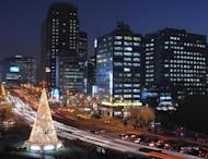"A Christmas tree decorated with lights in Seoul on 13 December 2003. North Korea on Monday criticised a display of Christmas lights staged by a South Korean church group near the tense border as an ""unacceptable provocation"""