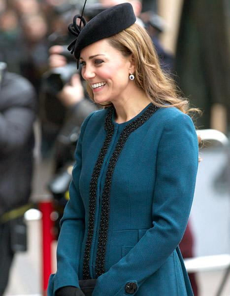 """Kate Middleton Gets """"Baby on Board"""" Button, Pregnancy Curves Concealed With Long Blue Coat at London"""