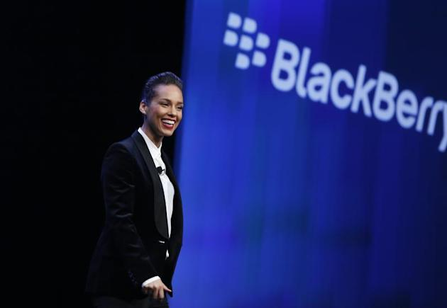 Singer songwriter Alicia Keys takes the stage after being introduced as the 'Global Creative Director' for Research in Motion (RIM) during the launch of the RIM Blackberry 10 devices in New York January 30, 2013. REUTERS/Shannon Stapleton