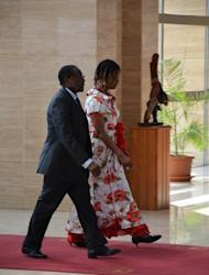 Zimbabwe's president Robert Mugabe and his wife Grace arrive on February 22, 2013 in Malabo, to take part in the third Africa-South America summit. Mugabe criticises Nelson Mandela for being too soft on whites, in a documentary giving a rare and intimate look into the family life of one of Africa's longest serving and most vilified leaders