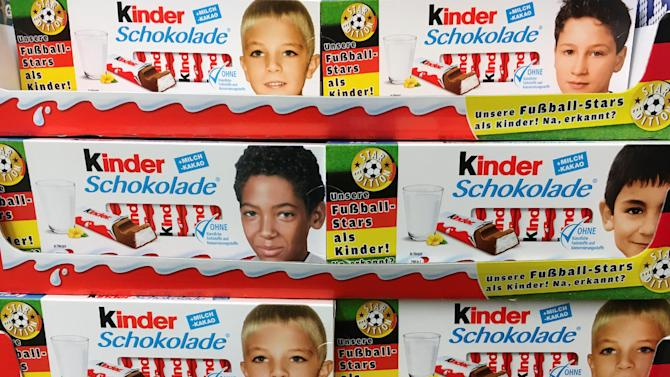 Images of German soccer players are printed on Ferrero chocolate bar boxes in Berlin