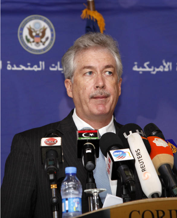 U.S. Deputy Secretary of State William Burns speaks during a news conference in Tripoli