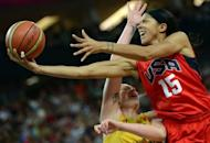 American Candace Parker during her London Olympics women's basketball semi-final against Australia on August 9. The Americans take a 40-game Olympic win streak into the championship game as they seek a fifth consecutive title and seventh crown in eight Olympics against an unbeaten French side