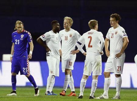 Norway's players react after their Euro 2016 qualifying soccer match against Croatia at the Makisimir stadium in Zagreb
