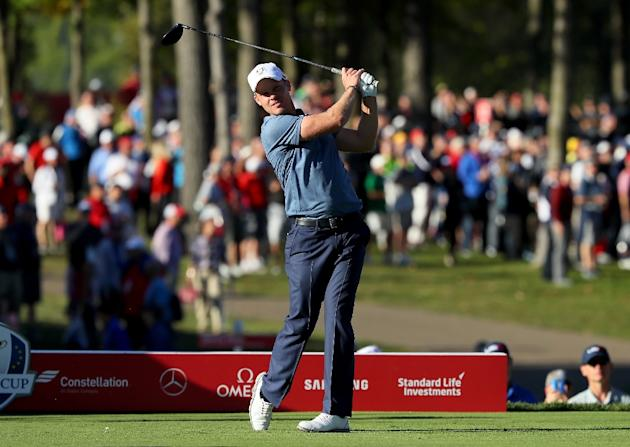 Danny Willett of Europe hits off the 14th tee during afternoon fourball matches of the 2016 Ryder Cup at Hazeltine National Golf Club