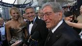 Stacy Keibler, George Clooney and Tony Bennett in front of the Access Hollywood cameras on the Oscars red carpet, Hollywood, February 26, 2012 -- Access Hollywood
