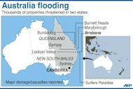 Map showing places in Australia where severe floods have been reported