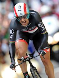 Switzerland's Fabian Cancellara, sprints at the end of the 6.4 km individual time-trial and prologue of the 2012 Tour de France cycling race running around Liege
