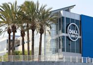 """The Dell logo is displayed on the exterior of the new Dell research and development facility on October 19, 2011 in Santa Clara, California. An investment firm claiming to be the largest outside shareholder in Dell said Friday the proposal to take the firm private for $24.4 billion """"grossly undervalues"""" the computer maker"""