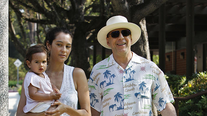 Bruce Willis and wife Emma Hemming take their daughter Mabel to a park