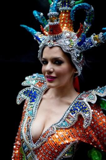 Miss World contestant, Cyprus' Georgia Georgiou, poses for a photo as she waits backstage prior to a rehearsal for the final ceremony at the Ordos Stadium Arena in the inner Mongolian city of Ordos on