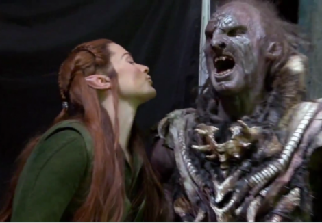 The Hobbit: Evangeline Lilly's Tauriel in one of her action scenes.