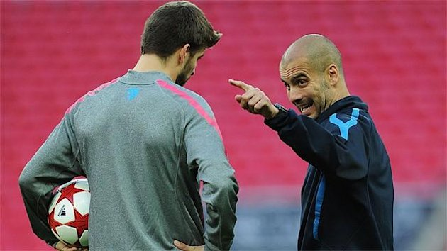 Gerard Piqué and Pep Guardiola at Barcelona
