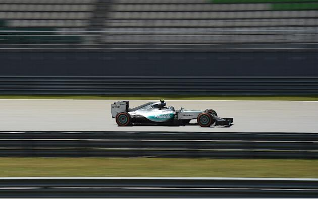 Mercedes' German driver Nico Rosberg steers his car during the second practice session of the Formula One Malaysian Grand Prix at the Sepang circuit near Kuala Lumpur on March 27, 2015