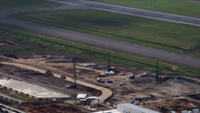 Aerial view shows the construction of a new terminal, that is supposed to help with the increased traffic during the 2014 World Cup, at the Salgado Filho International airport, in Porto Alegre