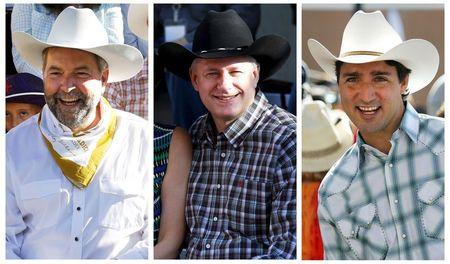 Combination file photo of Mulcair, Harper and Trudeau attending the Calgary Stampede in Calgary