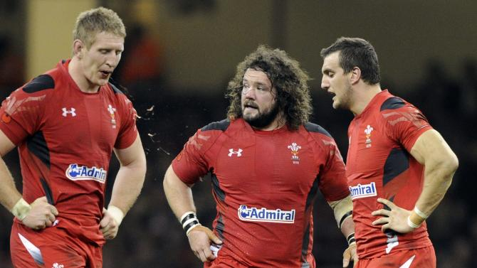 Wales' Dan Lydiate, Adam Jones and Sam Warburton react during a break in play against South Africa during the international rugby union match at the Millennium Stadium in Cardiff,