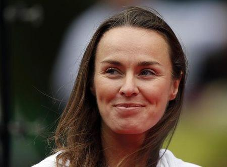Martina Hingis of Switzerland smiles at ceremony to celebrate 30th anniversary of Pan Pacific Open tennis tournament in Tokyo