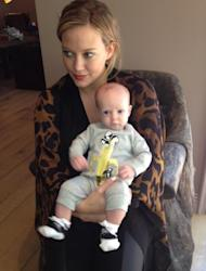 Hilary Duff is seen holding son Luca, May 2012 -- Hilary Duff/Twitter
