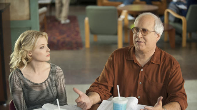 "Gillian Jacobs and Chevy Chase on NBC's ""Community."""