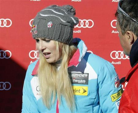 Lindsey Vonn of the U.S. reacts as she leaves after the the Women's World Cup Downhill skiing race in Val d'Isere, French Alps, December 21, 2013. REUTERS/Robert Pratta