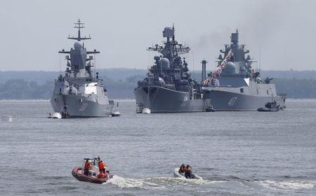 Russian navy ships are anchored in bay of Russian fleet base in Baltiysk in Kaliningrad region