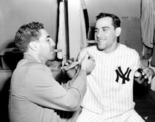 Yankees shortstop Phil Rizzuto and catcher Yogi Berra in 1951. (AP)