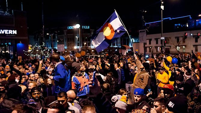 Denver Broncos fans watch Super Bowl 50