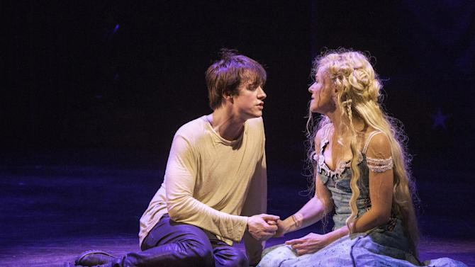 "This undated publicity photo provided by American Repertory Theater shows Matthew James Thomas, left, as Pippin and Rachel Bay Jones as Catherine in a production of ""Pippin,"" at the American Repertory Theater in Cambridge, Mass.  (AP Photo/American Repertory Theater, Michael J. Lutch)"