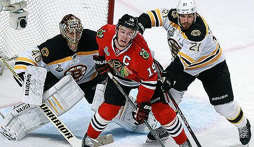Chicago Blackhawks captain Jonathan Toews vs. Boston Bruins in 2013 Stanley Cup Final