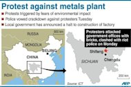 Graphic locating Shifang in Sichuan. Chinese police have vowed to crack down on protesters after riot officers clashed with hundreds of people rallying against a planned new metals plant over fears about its environmental impact