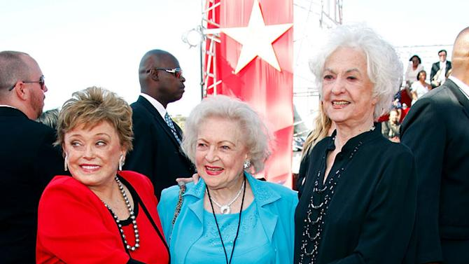 "Rue McClanahan, Betty White and Beatrice Arthur arrive at the 6th annual ""TV Land Awards"" held at Barker Hangar on June 8, 2008 in Santa Monica, California."