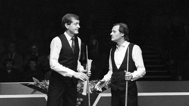 The film details the rivalry between snooker players Alex Higgins, right, and Steve Davis
